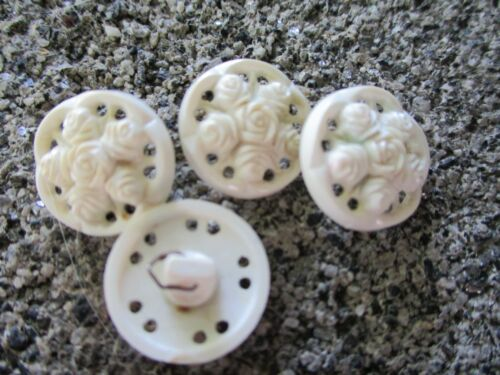 """Set of  4~Vintage 1/2"""" White  pierced celluloid plastic Buttons~New/old stock"""