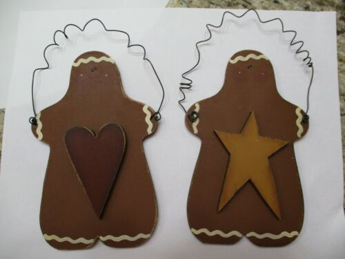 """S/2 Primitive Wood Wooden 4""""x 6"""" Gingerbread Man Wire Hanger Christmas Ornaments"""