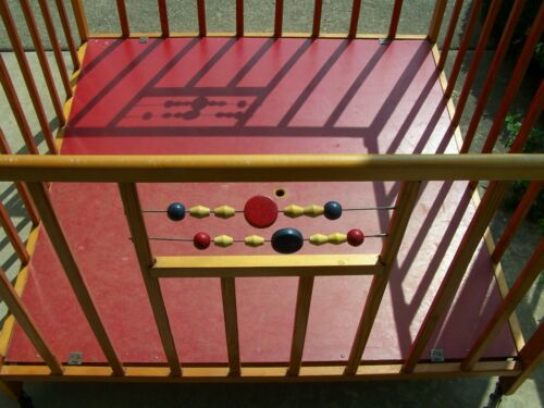 Vintage 50s or 60s Folding Wood Play Pen with Wood Beads by Abbott Co