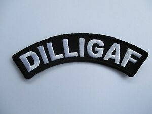 Large DILLIGAF Back patch curved Patch Sew/Iron Rider biker Motorcycle vest