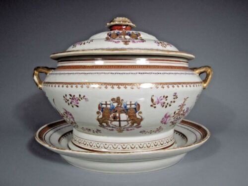 RARE China East India Company STYLE Armorial Tureen & Under plate ca.19-20th c.
