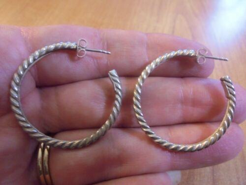 Vtg Sterling silver braided hoop post earrings 8.3 grams