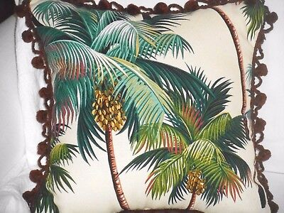 "14"" Tropical Cotton Barkcloth Fabric ACCENT PILLOW ~Palm Tree-Vintage Pom-Poms~"