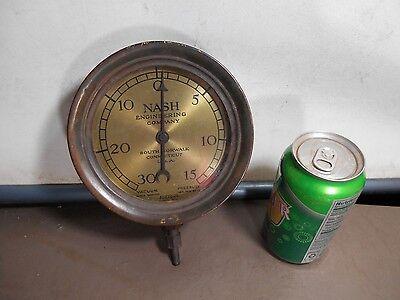 Vintage / Antique Gauge - NASH ENGINEERING CO.  Brass & Iron STEAM PUNK FIXTURE