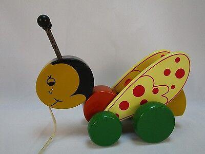 Vintage Kouvalias Rare Bumble Bee Pull Toy Very Nice Clicks & Wings Move Greece