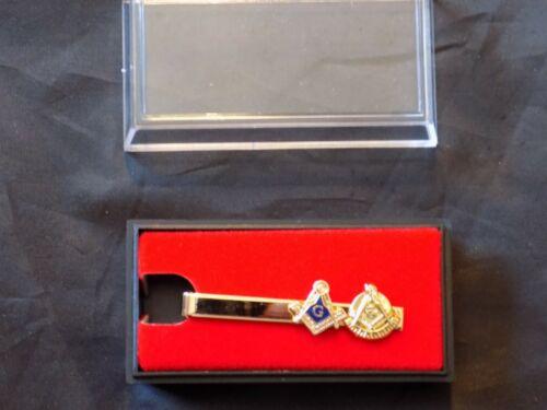 Small Past Master & Master Mason Logos Gold Color Tie Bar Necktie Masonic  NEW!