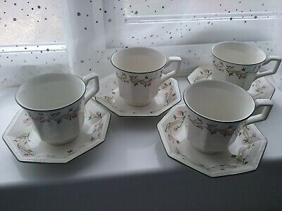 SET OF 4 ETERNAL BEAU TEA CUPS AND SAUCERS JOHNSON BROTHERS EXCELLENT CONDITION