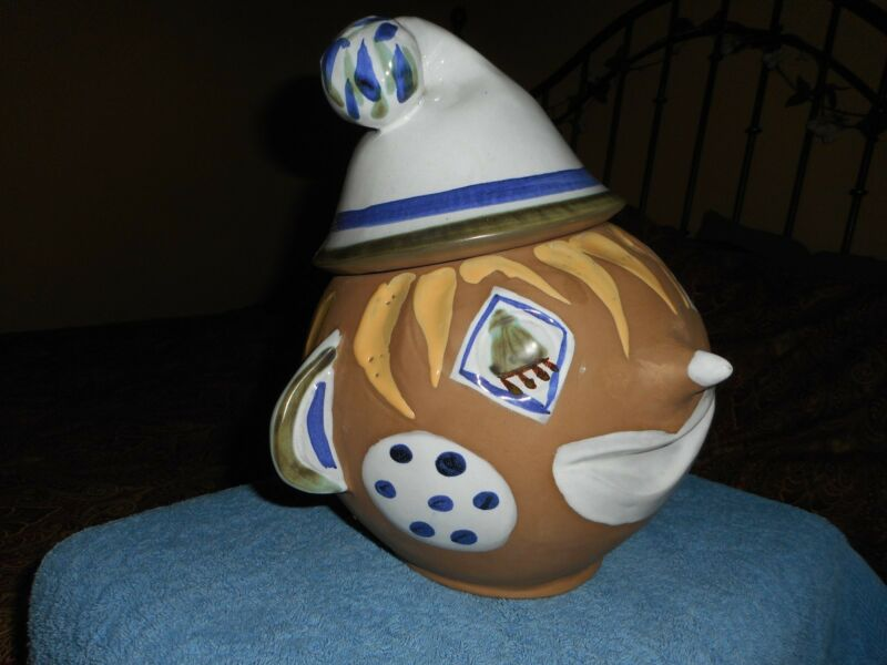 Folk Art Circus Clown Cookie Jar Vintage Hand Painted Pottery 1950