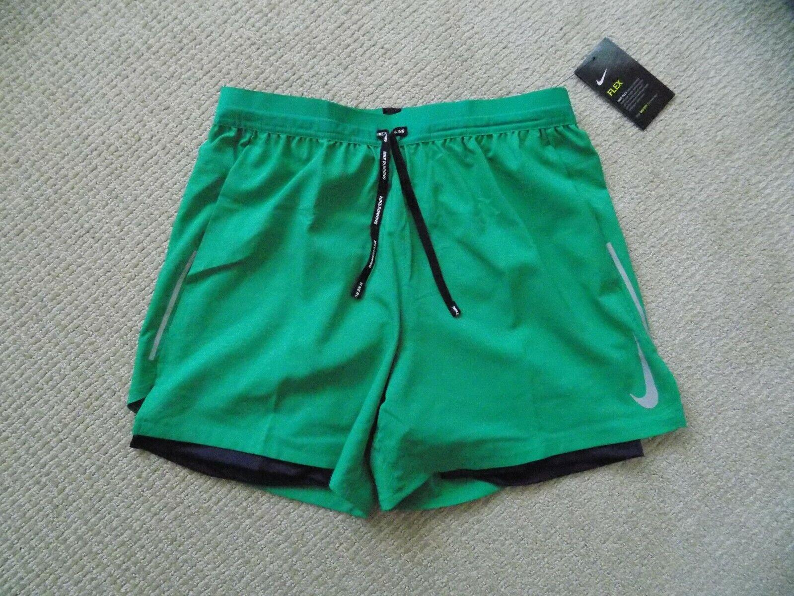 "Men/'s Large Nike Flex Stride 5/"" Running Shorts 2in1 Green Blue AJ7782 319"