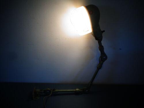 VINTAGE INDUSTRIAL MACHINE FOLDING ELECTRIC LIGHT LAMP W/ PLASTIC CAGE