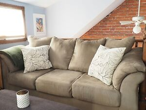 Large and Comfortable, Microsuede Beige Couch