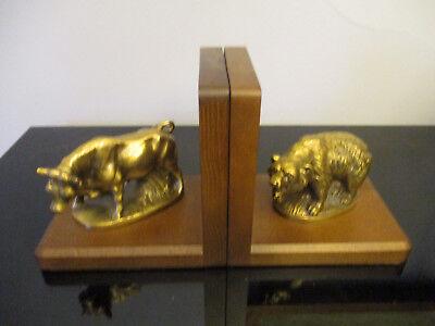 Pair Bull Bear Brass Bookends Wall Street Stock Market Broker PM Craftsman! Bull Bear Bookends