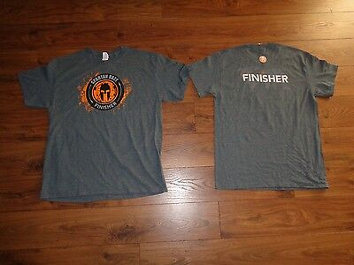 New Spartan Race Finisher 50 50 Poly Cotton Gray Short Sleeve T Shirt Tee Large