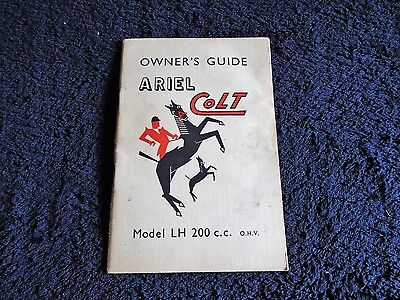 ARIEL COLT LH 200cc MOTORCYCLE Owners Guide Handbook 1954/55 2nd EDITION