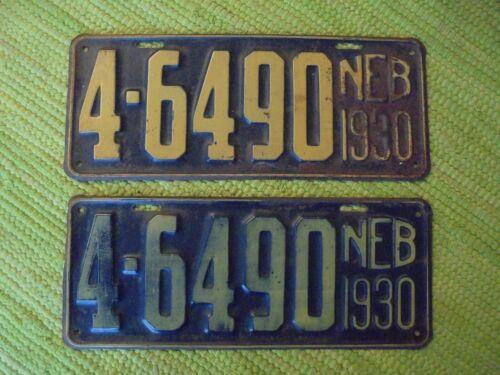 1930 Nebraska License Plate NEB Tag 4-6490 Pair 30 NE NB Plates