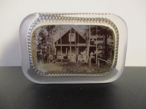 Circa 1910 Souvenir Glass Paperweight Camp Dewey Decorah Iowa