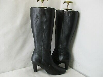 J.CREW Black Leather Zip Knee High Heel Fashion Boots Womens Size 8 Style 18208