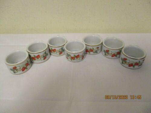 Set of 7 Avon Porcelain Strawberry Design With Gold Trim Napkin Rings
