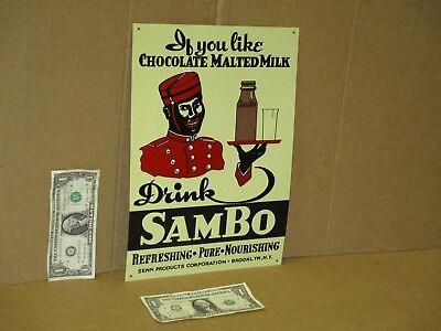 Very Nice Sambo/'sChocolate Milk Glass 1//2 Pint Bottle