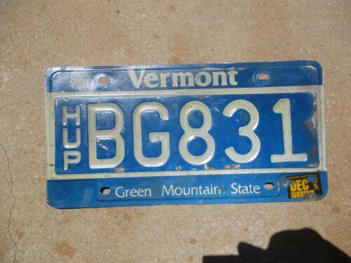 Vermont HUP license plate #  BG 831
