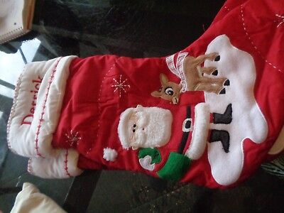 Pottery Barn Kids Christmas quilted stocking Santa Rudolph monogram Derrick New - Rudolph Stocking