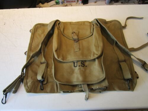 """WW2 US M1928 HAVERSACK + Carrier with """"Tail Pack Carrier"""" - Reproduction"""