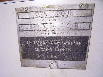 Vintage Oliver 1850 D Row Crop Tractor -serial Plate - 1967