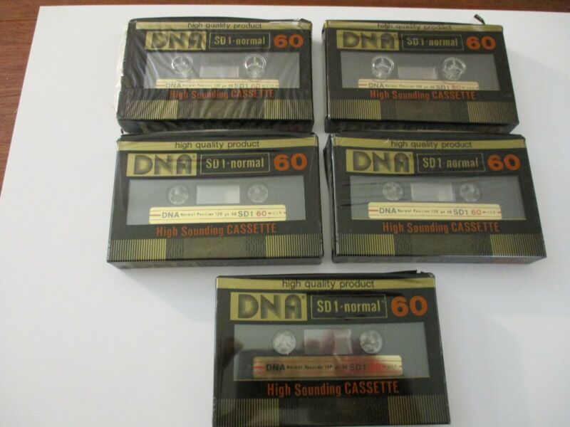 NOS DNA Blank Cassette Tape Lot (5) SD1-Normal 60 Minute