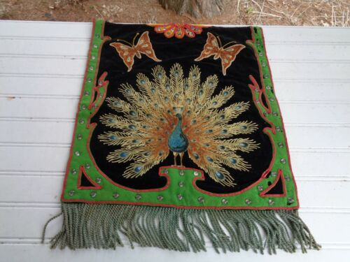 VINTAGE EMBROIDERED APRON BANNER PEACOCK BUTTERFLY TAPESTRY MASONIC FLAG