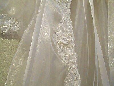 Vtg Wedding Christening Baptism Dressing Robe Gown with Bonnet Set 0-9