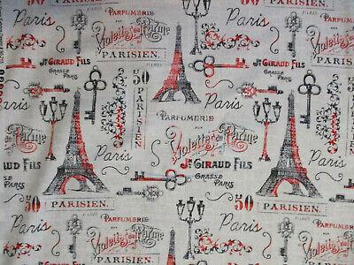 VINTAGE PARIS EIFFEL TOWER SITES PERFUME SCRIBE ECRU COTTON FABRIC FQ  - Craft Sites