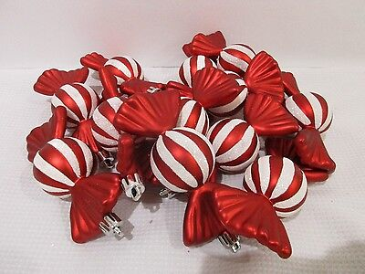 (12) Christmas Peppermint Candy Cane Red White Glitter Ball Candy Ornaments