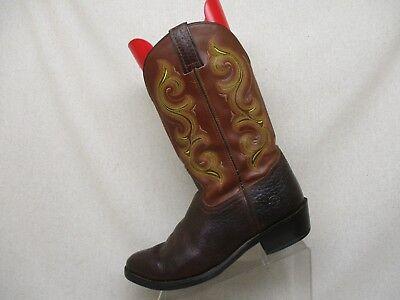 Double H Brown Leather Bullhide Cowboy Western Boots Mens Size 10.5 D - 197533