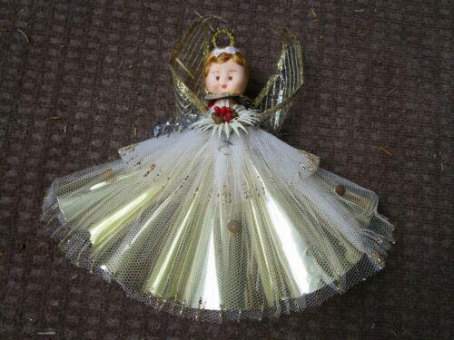 VINTAGE CHRISTMAS TREE TOPPER ANGEL GLITTER TULLE DECORATION