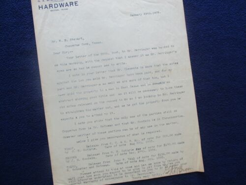 1909 Copperas Cove & Belton,Texas signed G.A. McGregor (Business content) letter