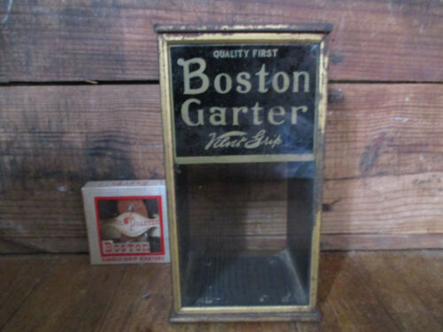ANTIQUE 1915 METAL & GLASS BOSTON GARTERS DISPLAY CASE 1 BOX NOS GARTERS
