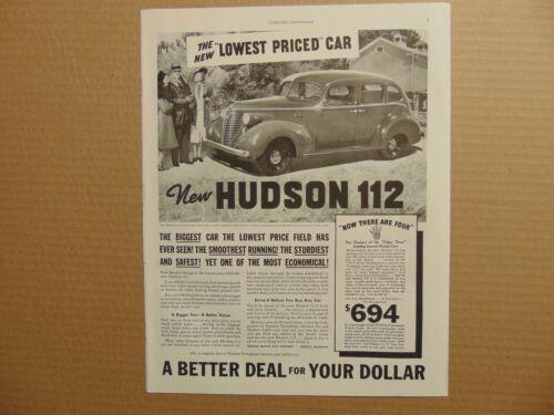 1938 NEW HUDSON 112 Automobile vintage art print ad