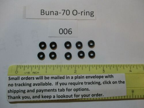 "006 O-ring. 1/8"" ID x 1/4"" OD x 1/16"" thick. Buna-70.  Quan 10."