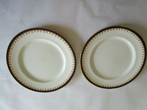 2 Aynsley China Laurette Cobalt Blue and Gold Dinner Plates 10 1/2""