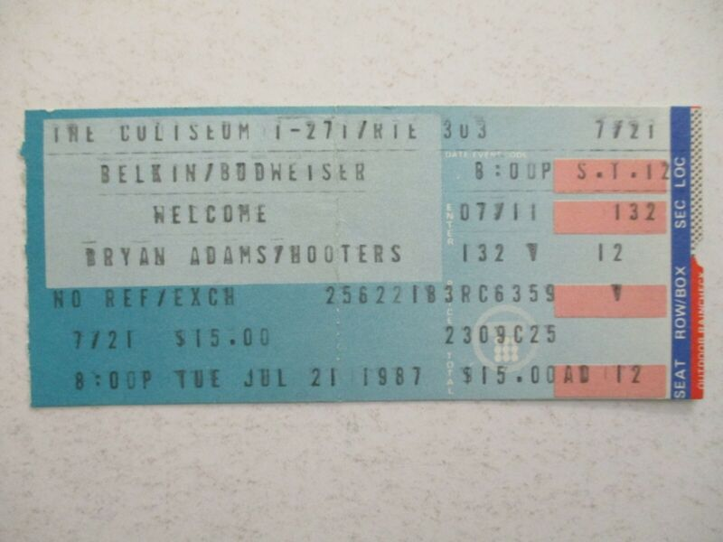 Bryan Adams/Hooters Concert Ticket Stub 1987 Richfield Coliseum