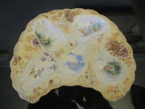 RARE Antique Vintage Kutani Porcelain HandPainted Moriage Gold Gilt OYSTER Plate