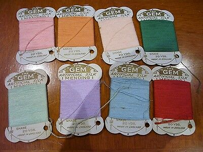 8 Vintage Cards Thread Ideal Old Sewing Box The GEM Artificial Silk