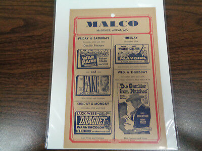 Malco Theatre Vintage Movie Ad Mcghee Arkansas War Paint  Dragnet The Fake