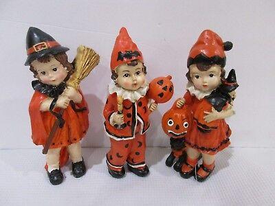 3 Vintage Style Halloween Little Boy & Girl  Resin Figurine  Decor Decoration 7