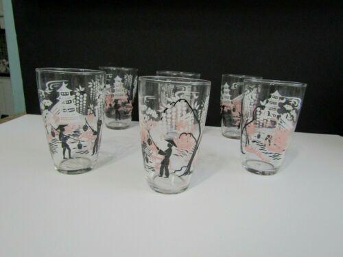 Vtg Libbey Pagoda Cherry Blossom Japanese Style Drinking Glasses Set of 6 NICE!