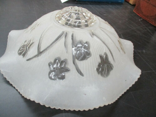 IRIS & HERRINGBONE GLASS CEILING FIXTURE- LIGHT SHADE - RARE