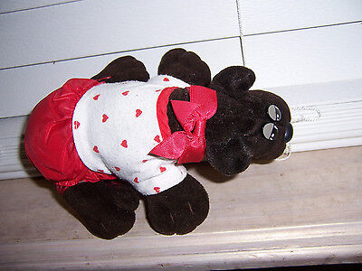 """7"""" Pound Puppies Plush BROWN Puppy Dog TONKA 1985 DRESSED White/Red Heart Outfit"""