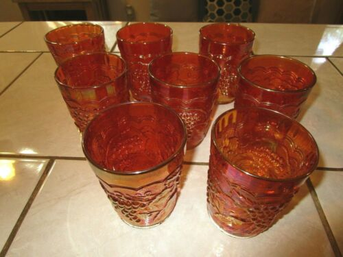 Lot of  Eight - Imperial Grape Marigold Iridescent Carnival Glass Tumblers