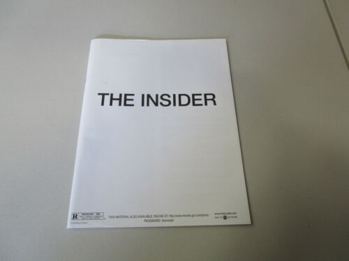 MOVIE PRESS KIT THE INSIDER AL PACINO 35 MM MOVIE SLIDES, PHOTO, INFO BOOKLET