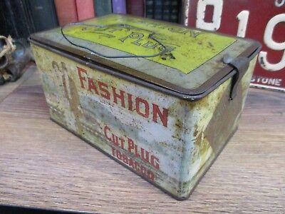 ANTIQUE TOBACCO TIN FASHION CUT PLUG - LUNCH BOX ORIGINAL can EARLY EARLY 1900s
